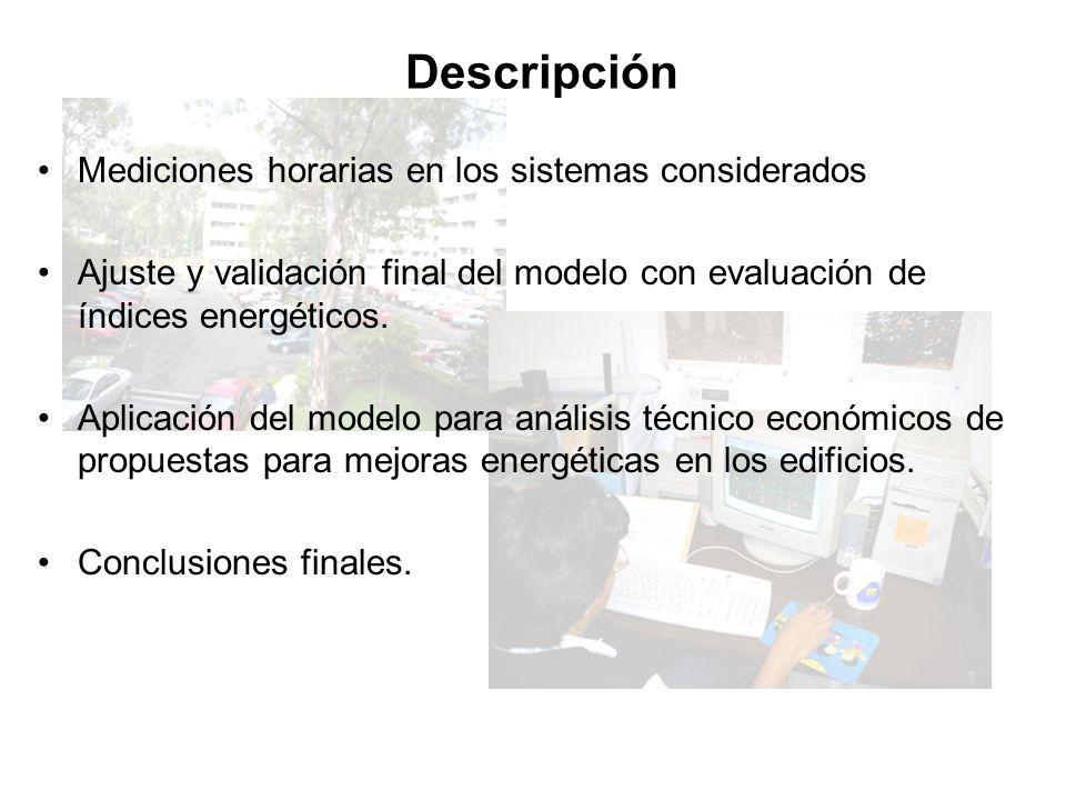Descripción Mediciones horarias en los sistemas considerados