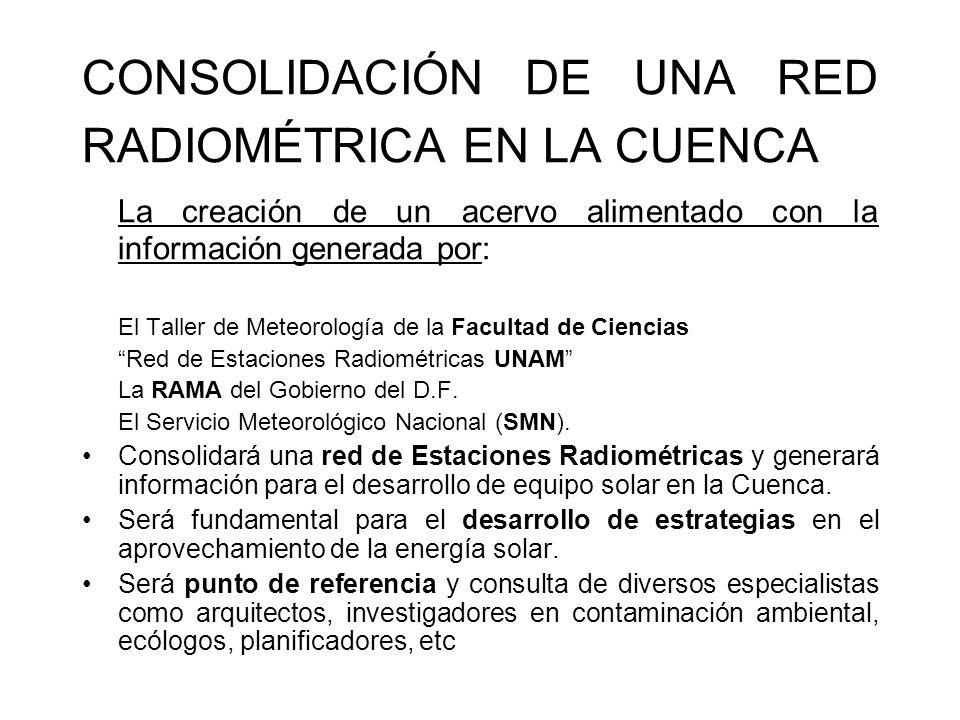 CONSOLIDACIÓN DE UNA RED RADIOMÉTRICA EN LA CUENCA