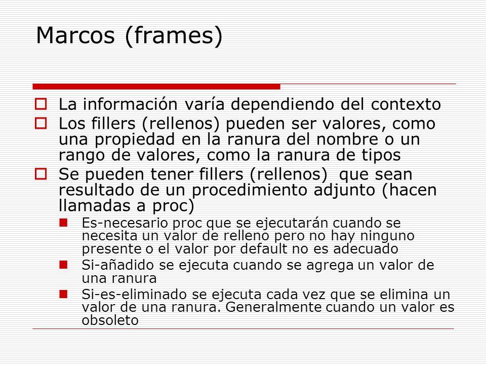 Marcos (frames) La información varía dependiendo del contexto