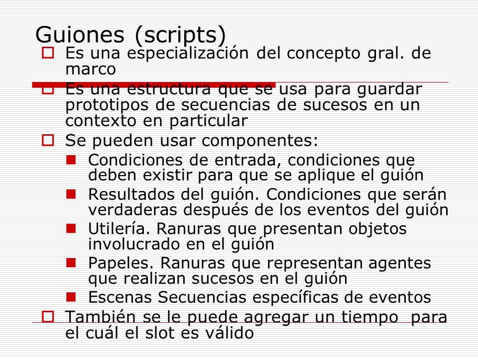 Guiones (scripts) Es una especialización del concepto gral. de marco