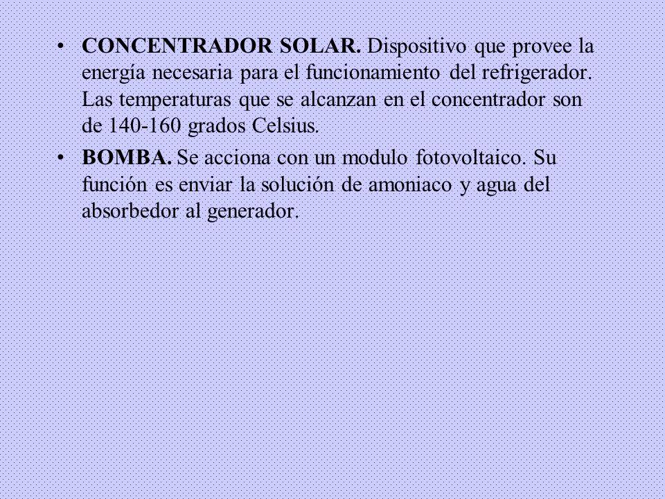 CONCENTRADOR SOLAR. Dispositivo que provee la energía necesaria para el funcionamiento del refrigerador. Las temperaturas que se alcanzan en el concentrador son de 140-160 grados Celsius.