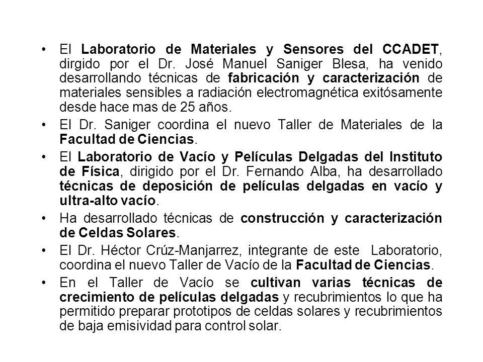 El Laboratorio de Materiales y Sensores del CCADET, dirgido por el Dr