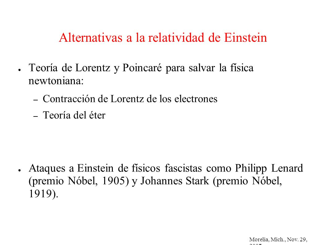 Alternativas a la relatividad de Einstein