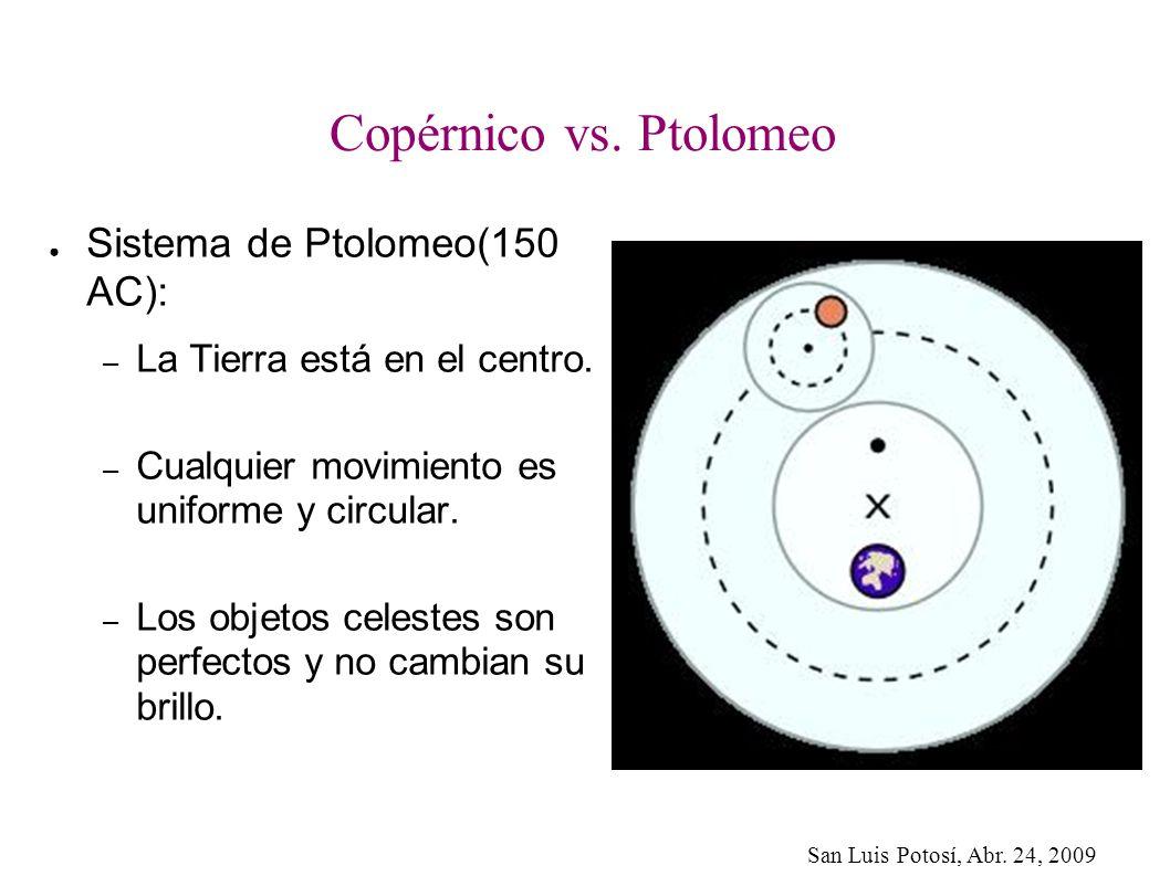 Copérnico vs. Ptolomeo Sistema de Ptolomeo(150 AC):