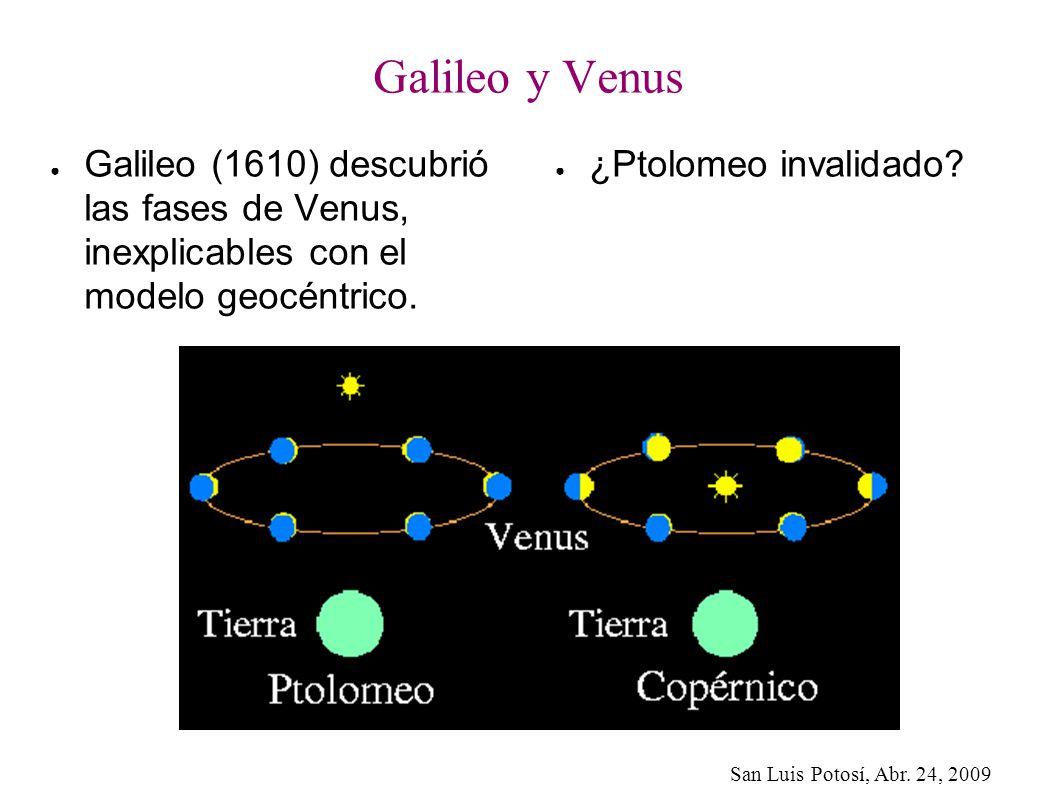 Galileo y Venus Galileo (1610) descubrió las fases de Venus, inexplicables con el modelo geocéntrico.