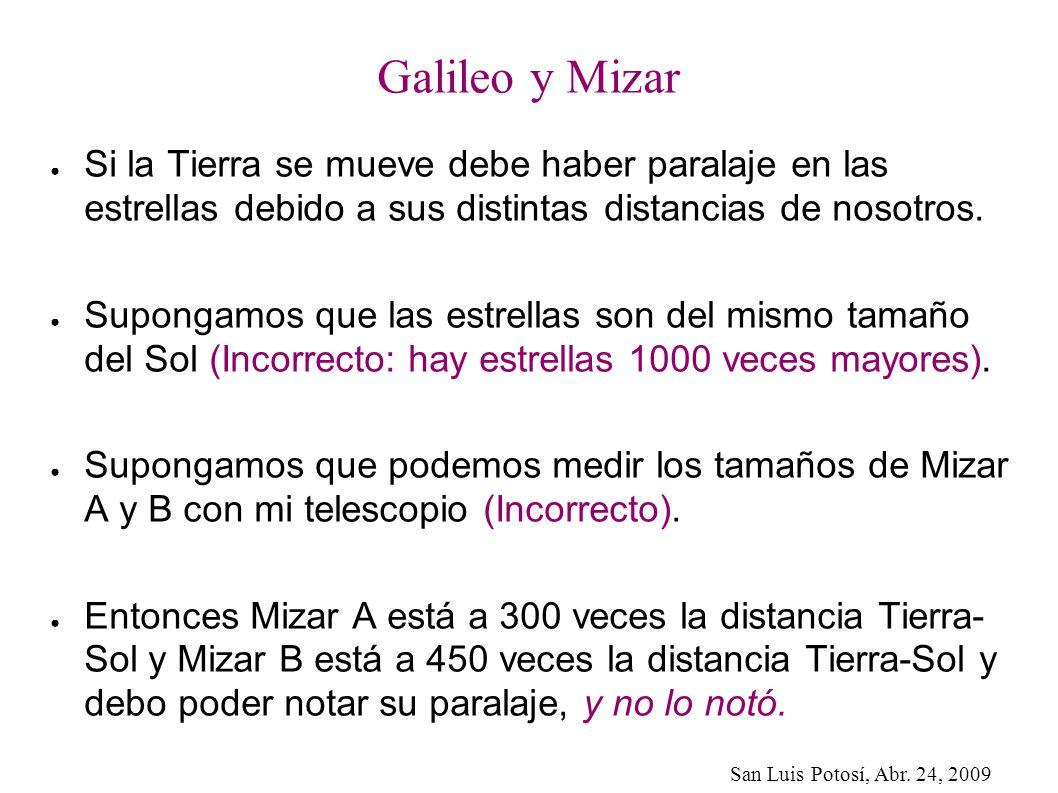 Galileo y Mizar Si la Tierra se mueve debe haber paralaje en las estrellas debido a sus distintas distancias de nosotros.