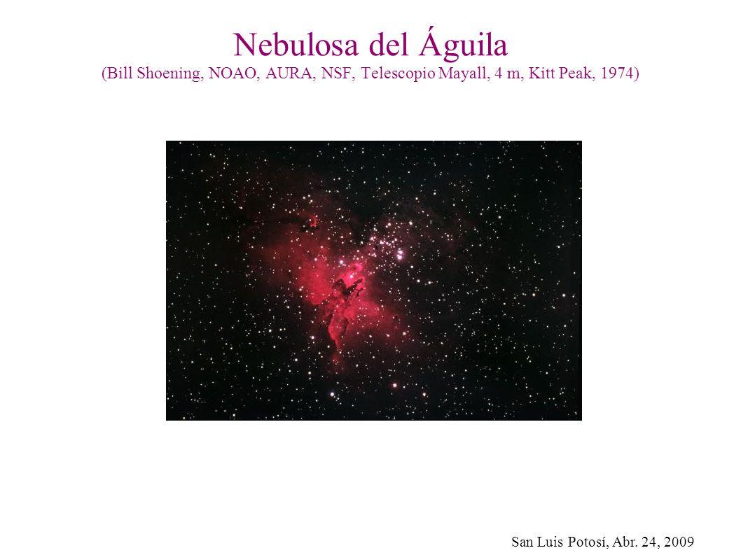 Nebulosa del Águila (Bill Shoening, NOAO, AURA, NSF, Telescopio Mayall, 4 m, Kitt Peak, 1974)