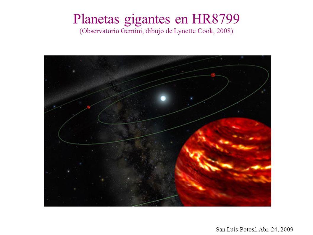 Planetas gigantes en HR8799 (Observatorio Gemini, dibujo de Lynette Cook, 2008)