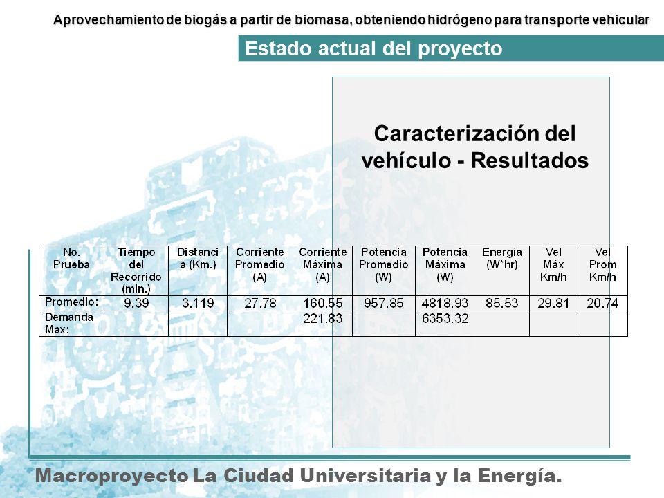 Caracterización del vehículo - Resultados