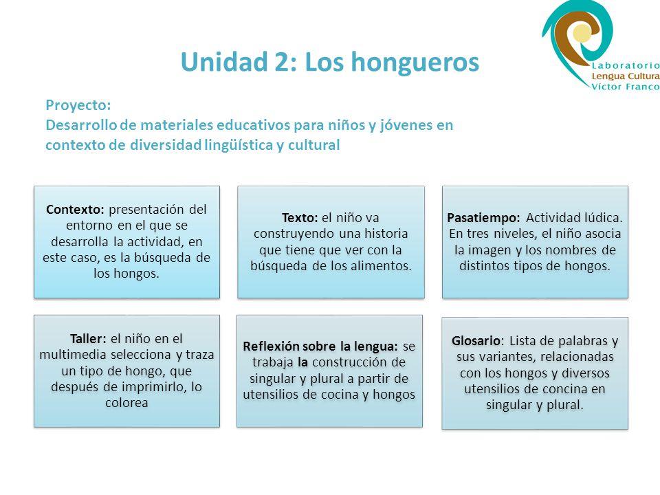 Unidad 2: Los hongueros Proyecto: Desarrollo de materiales educativos para niños y jóvenes en contexto de diversidad lingüística y cultural.