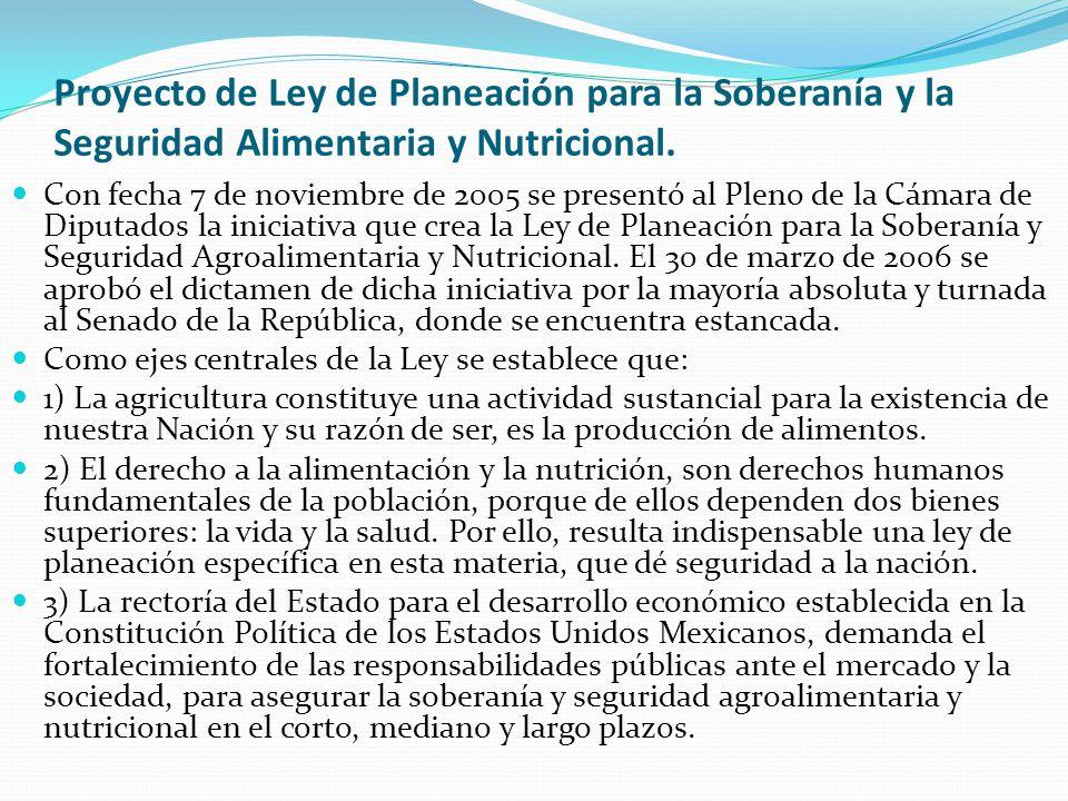 Proyecto de Ley de Planeación para la Soberanía y la Seguridad Alimentaria y Nutricional.
