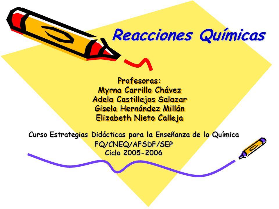 Reacciones Químicas Profesoras: Myrna Carrillo Chávez Adela Castillejos Salazar Gisela Hernández Millán Elizabeth Nieto Calleja.