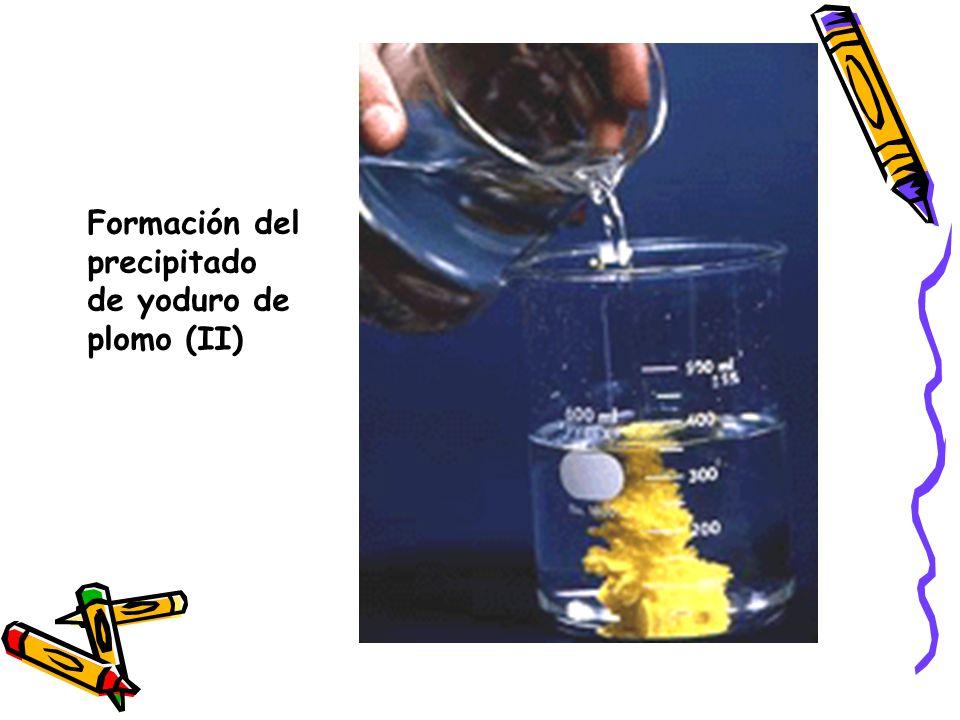 Formación del precipitado de yoduro de plomo (II)