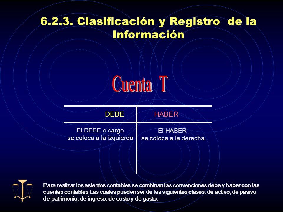Cuenta T 6.2.3. Clasificación y Registro de la Información DEBE HABER