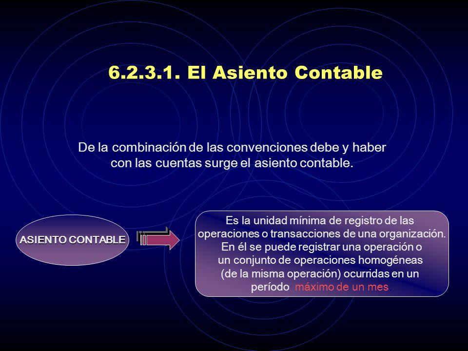 6.2.3.1. El Asiento Contable De la combinación de las convenciones debe y haber con las cuentas surge el asiento contable.