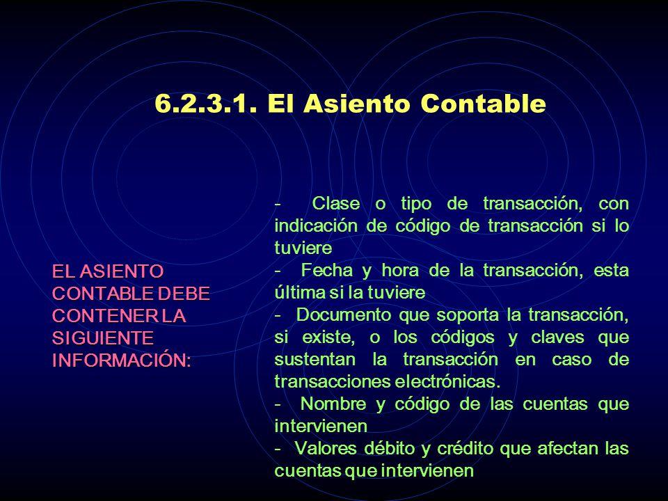 6.2.3.1. El Asiento Contable - Clase o tipo de transacción, con indicación de código de transacción si lo tuviere.