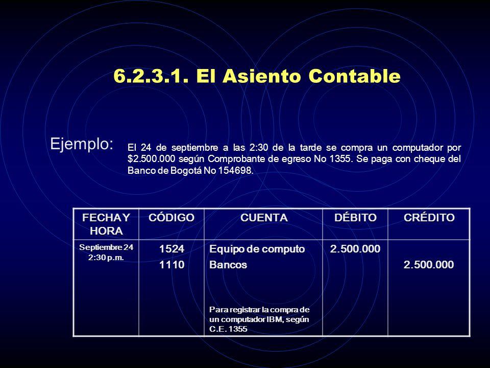 6.2.3.1. El Asiento Contable Ejemplo: FECHA Y HORA CÓDIGO CUENTA