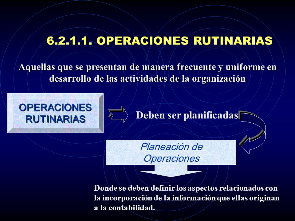 6.2.1.1. OPERACIONES RUTINARIAS