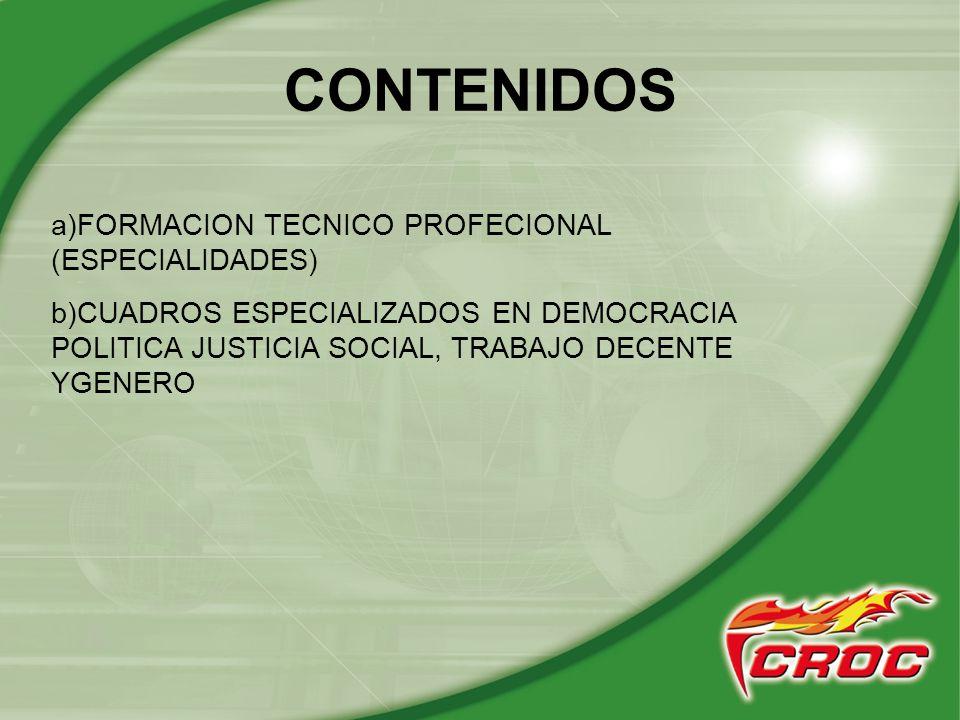CONTENIDOS a)FORMACION TECNICO PROFECIONAL (ESPECIALIDADES)