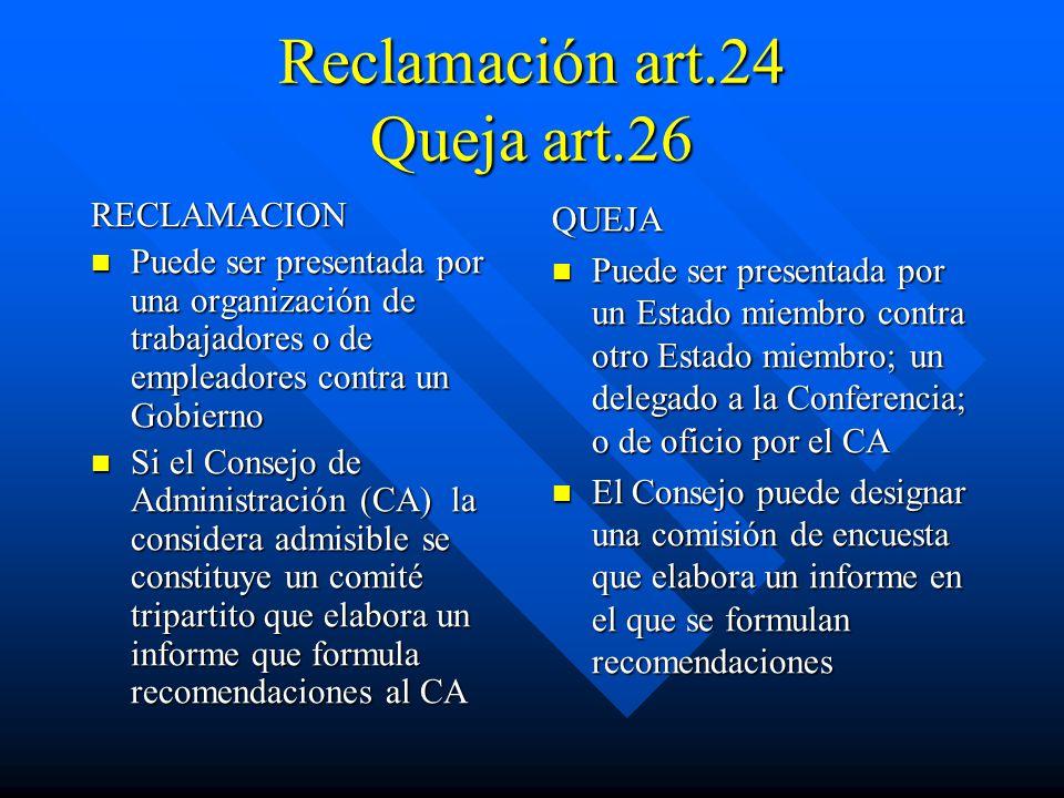 Reclamación art.24 Queja art.26