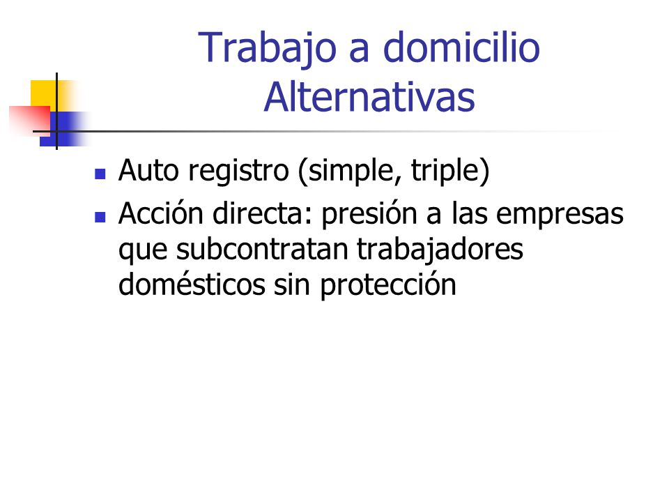 Trabajo a domicilio Alternativas
