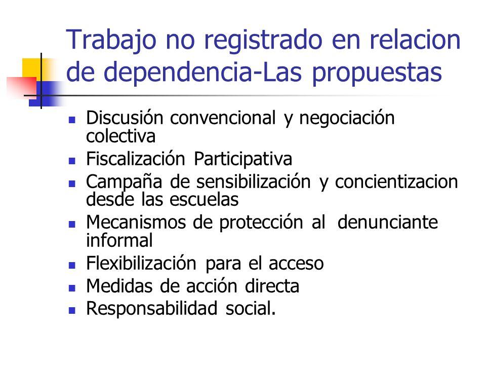 Trabajo no registrado en relacion de dependencia-Las propuestas