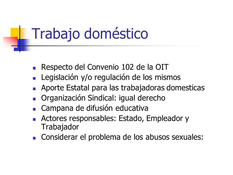 Trabajo doméstico Respecto del Convenio 102 de la OIT