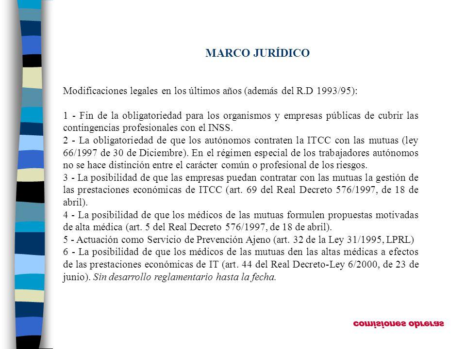 MARCO JURÍDICO Modificaciones legales en los últimos años (además del R.D 1993/95):