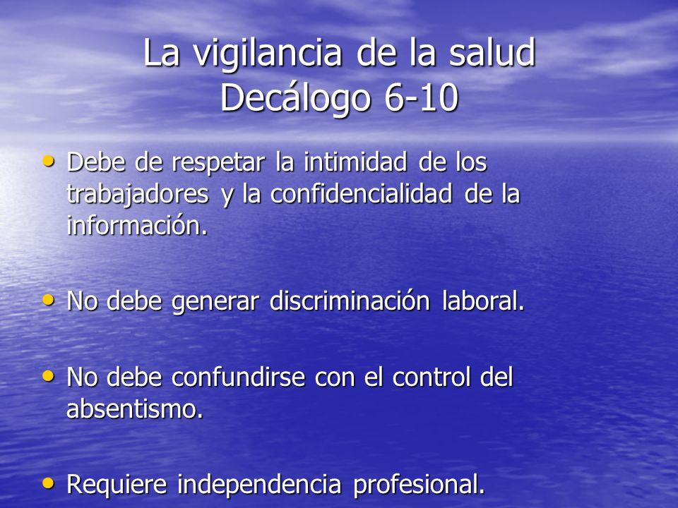 La vigilancia de la salud Decálogo 6-10