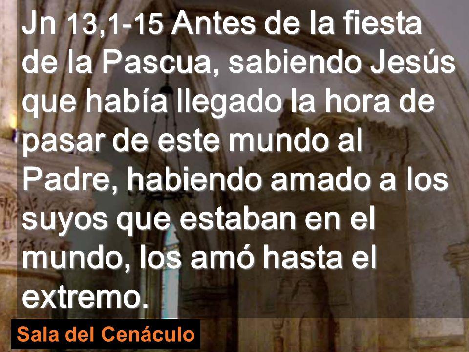 Jn 13,1-15 Antes de la fiesta de la Pascua, sabiendo Jesús que había llegado la hora de pasar de este mundo al Padre, habiendo amado a los suyos que estaban en el mundo, los amó hasta el extremo.