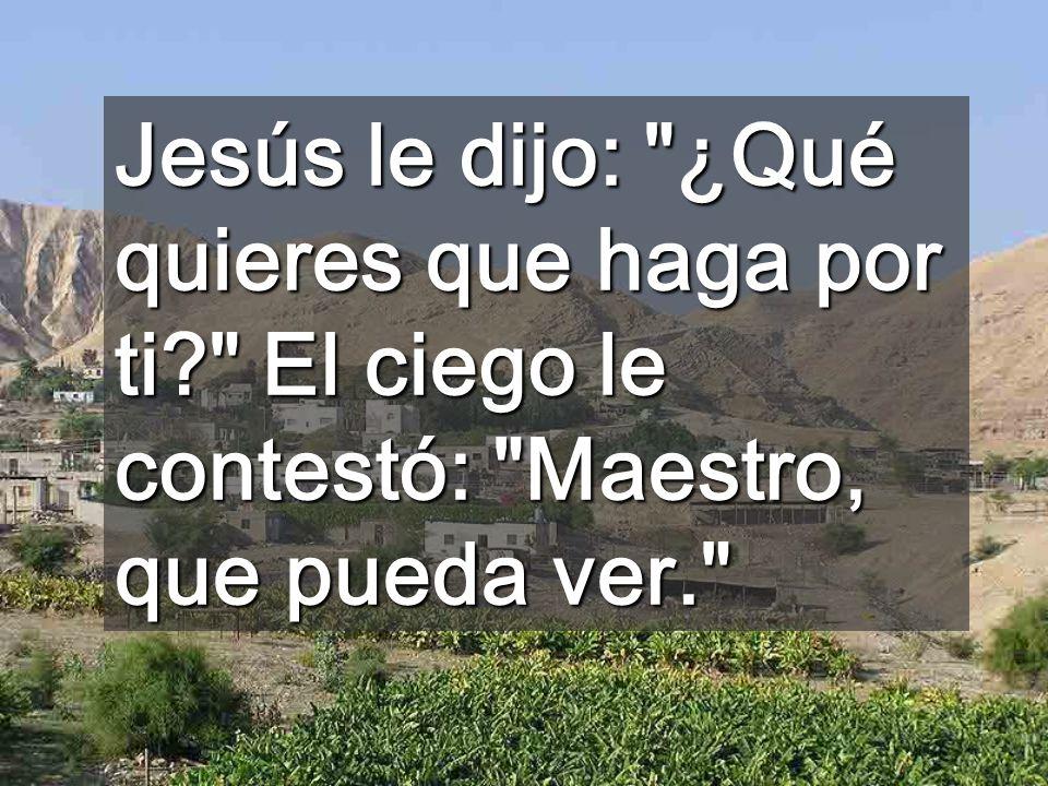 Jesús le dijo: ¿Qué quieres que haga por ti