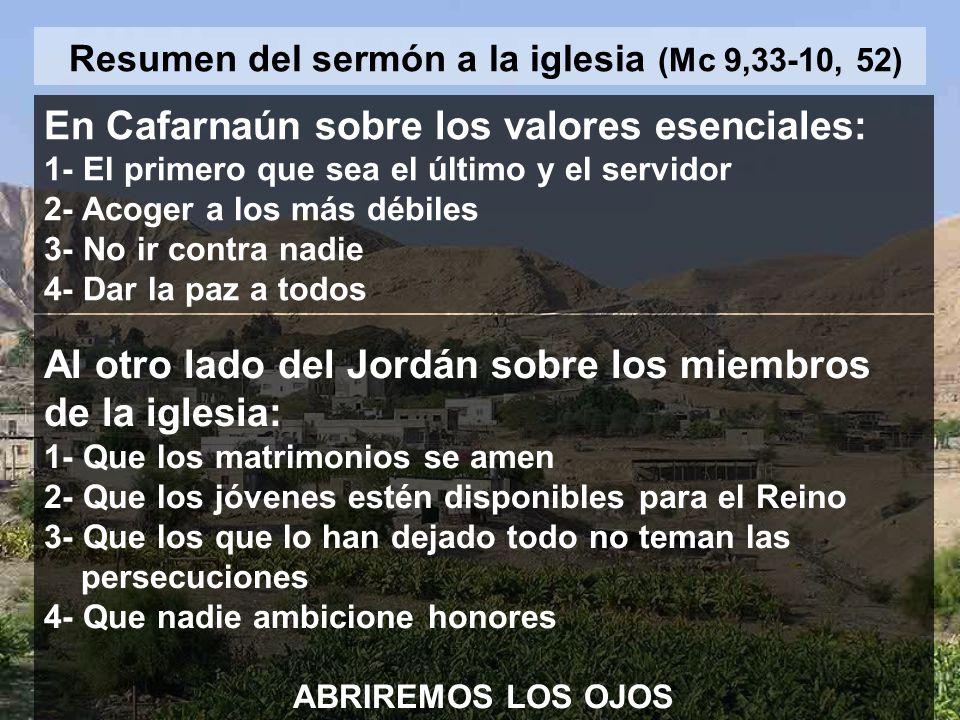 Resumen del sermón a la iglesia (Mc 9,33-10, 52)