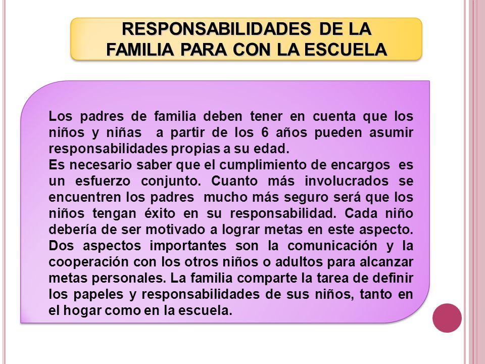 RESPONSABILIDADES DE LA FAMILIA PARA CON LA ESCUELA