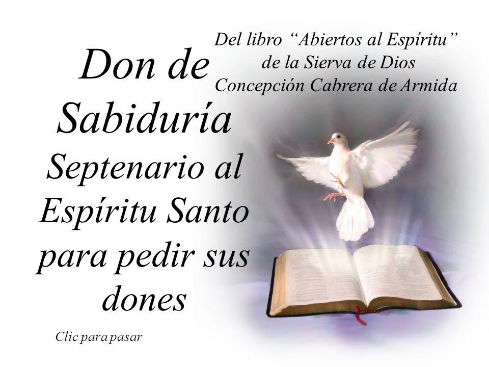 Don de Sabiduría Septenario al Espíritu Santo para pedir sus dones