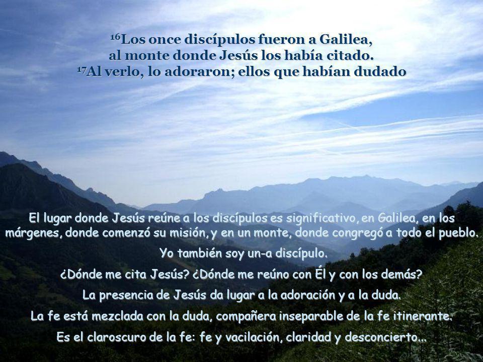 16Los once discípulos fueron a Galilea, al monte donde Jesús los había citado. 17Al verlo, lo adoraron; ellos que habían dudado