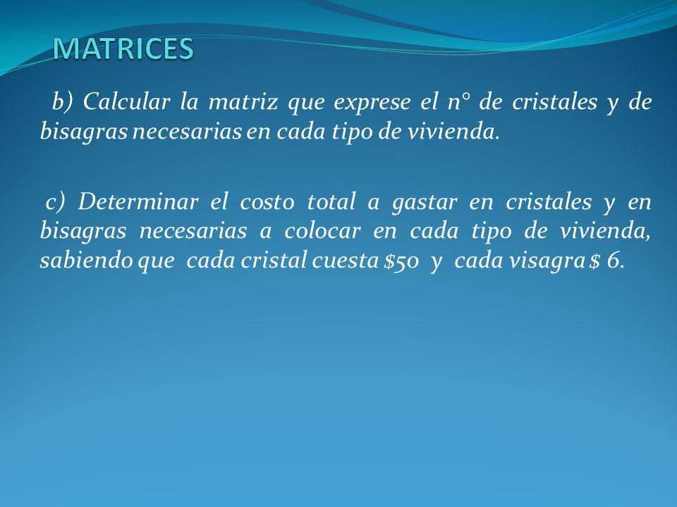 MATRICES b) Calcular la matriz que exprese el n° de cristales y de bisagras necesarias en cada tipo de vivienda.