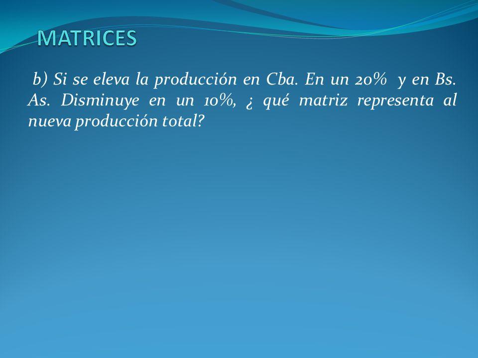 MATRICESb) Si se eleva la producción en Cba.En un 20% y en Bs.