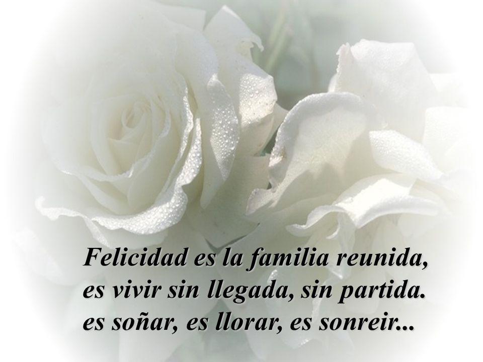 Felicidad es la familia reunida, es vivir sin llegada, sin partida