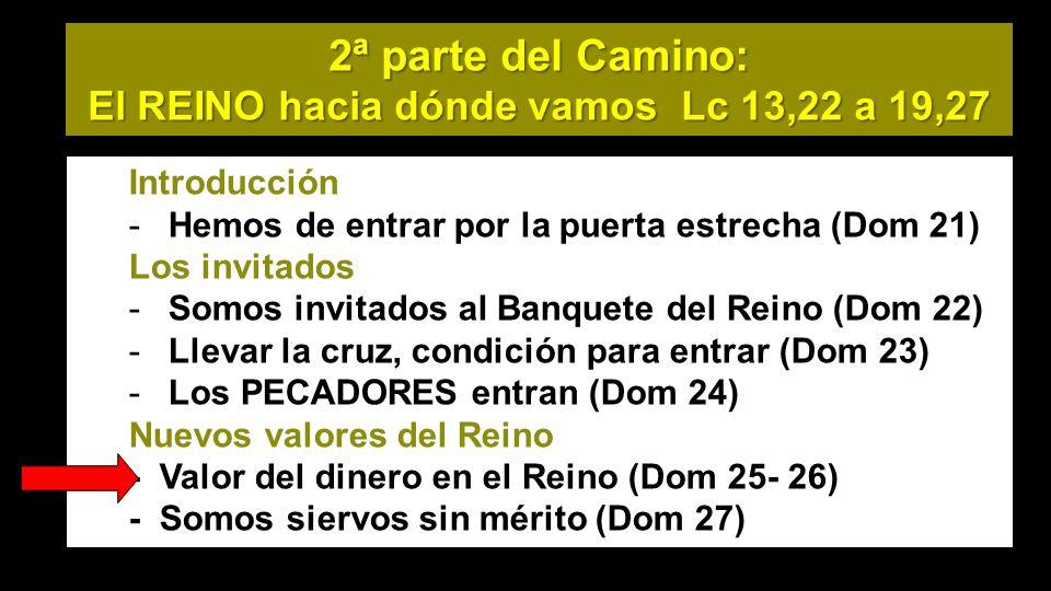 2ª parte del Camino: El REINO hacia dónde vamos Lc 13,22 a 19,27