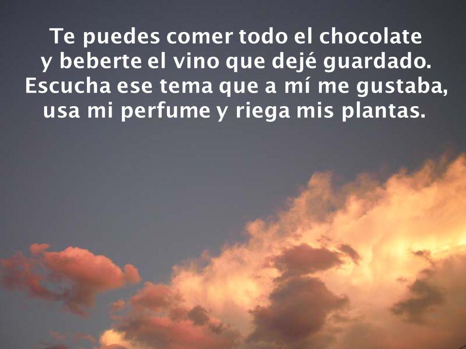 Te puedes comer todo el chocolate y beberte el vino que dejé guardado.
