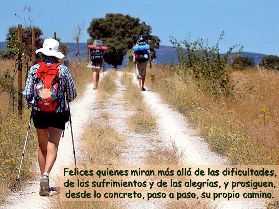 Felices quienes miran más allá de las dificultades, de los sufrimientos y de las alegrías, y prosiguen, desde lo concreto, paso a paso, su propio camino.