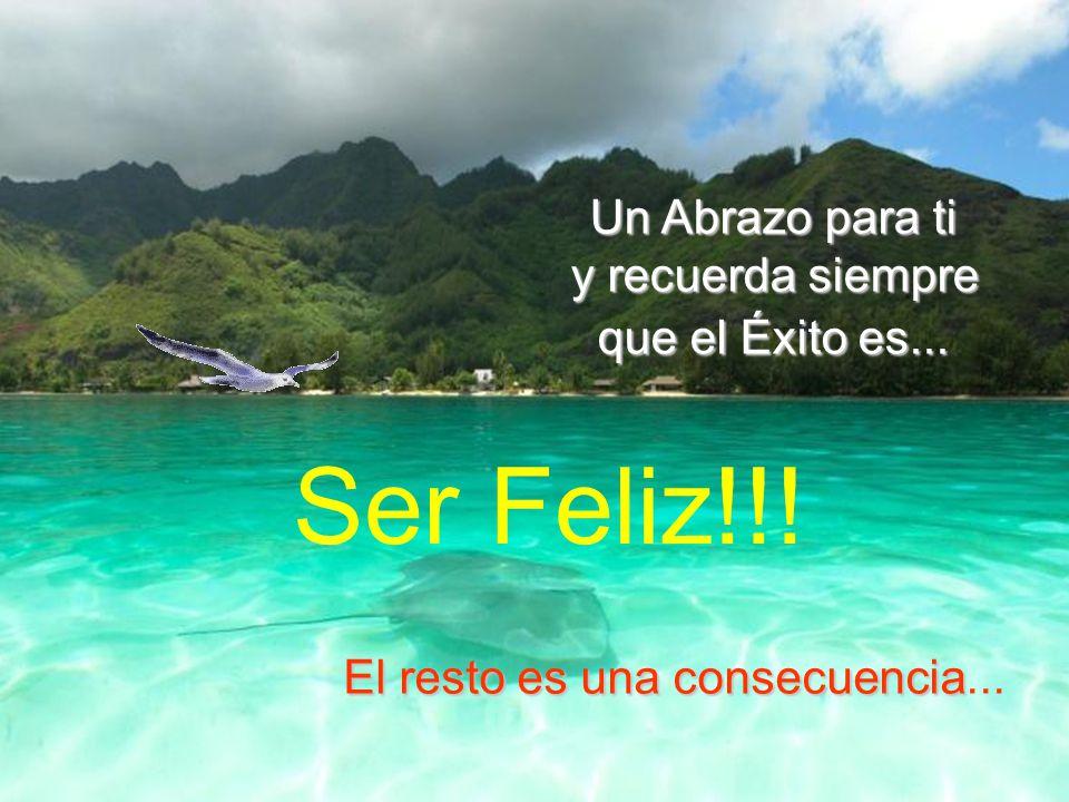 Ser Feliz!!! Un Abrazo para ti y recuerda siempre que el Éxito es...