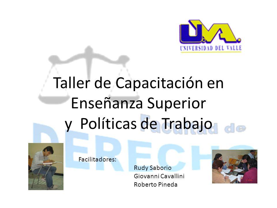 Taller de Capacitación en Enseñanza Superior y Políticas de Trabajo