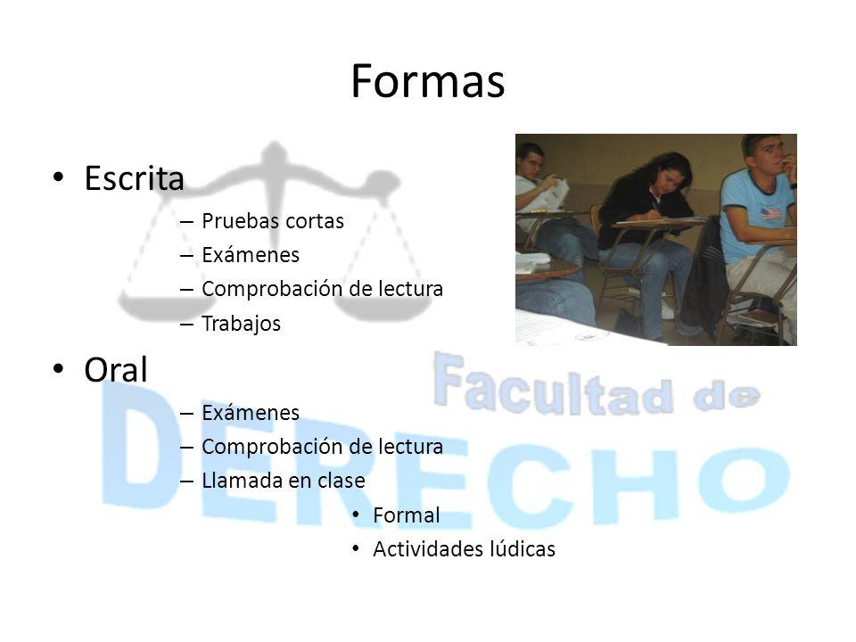 Formas Escrita Oral Pruebas cortas Exámenes Comprobación de lectura