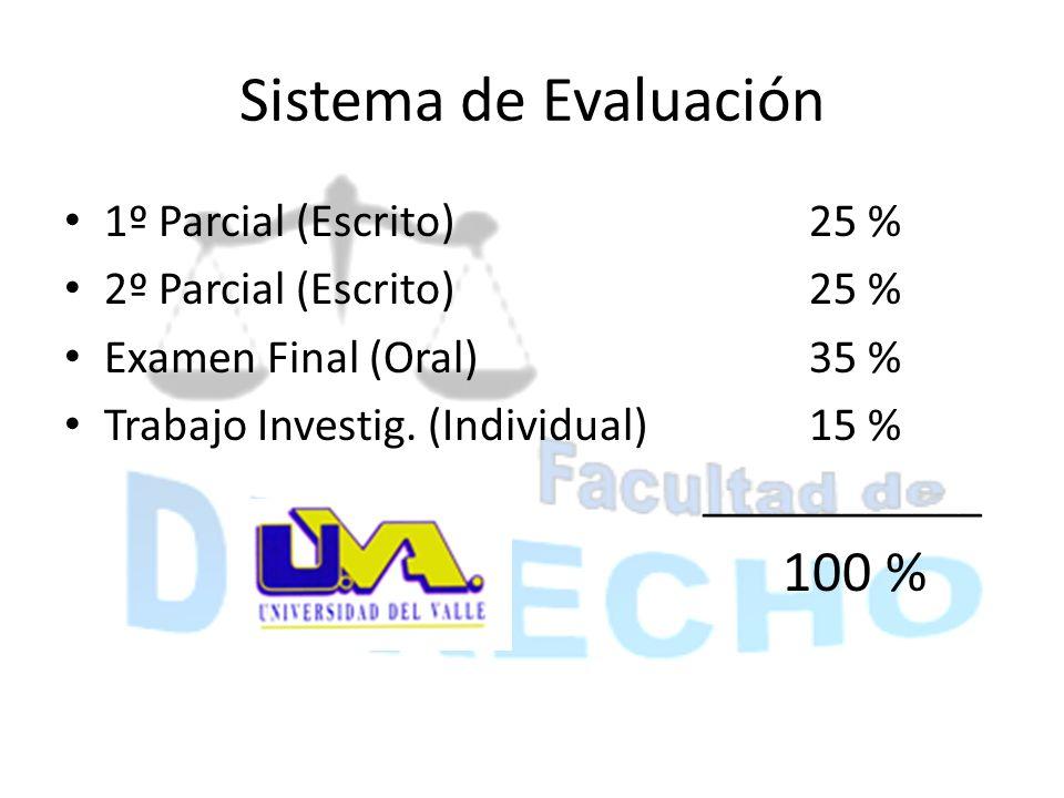 Sistema de Evaluación 100 % 1º Parcial (Escrito) 25 %