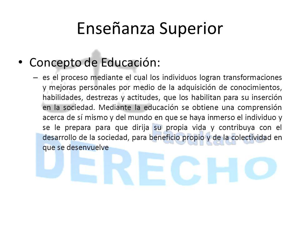 Enseñanza Superior Concepto de Educación: