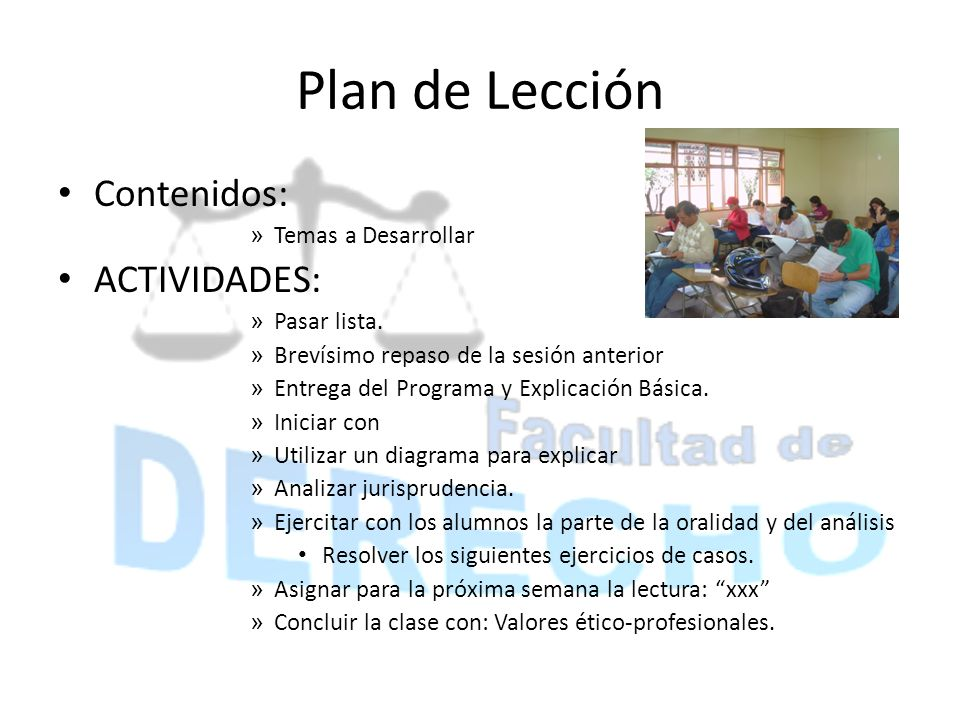 Plan de Lección Contenidos: ACTIVIDADES: Temas a Desarrollar