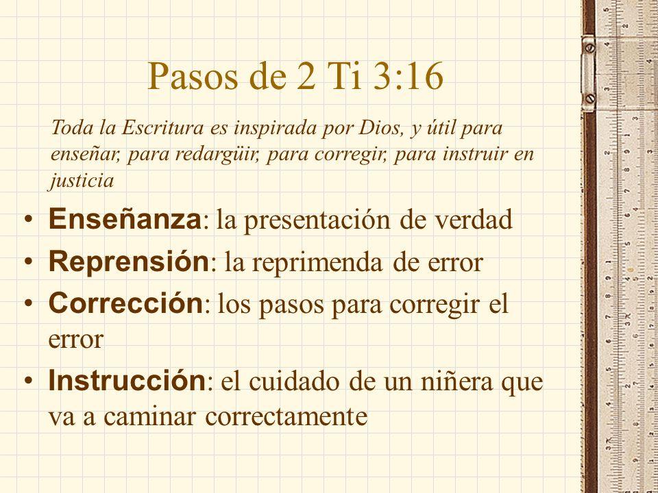 Pasos de 2 Ti 3:16 Enseñanza: la presentación de verdad