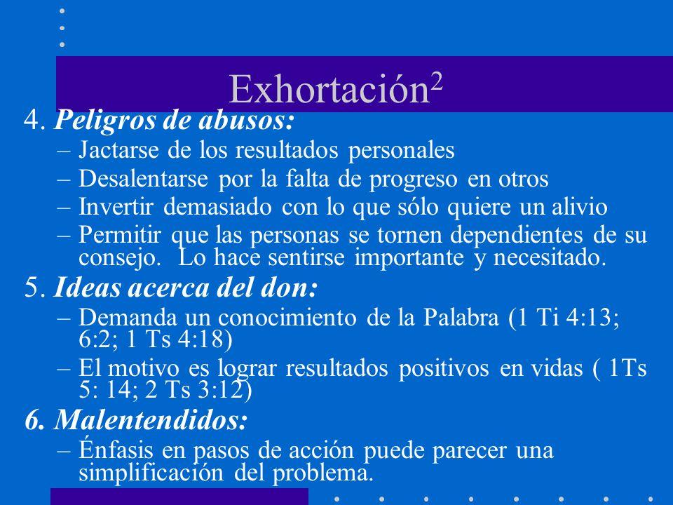 Exhortación2 4. Peligros de abusos: 5. Ideas acerca del don:
