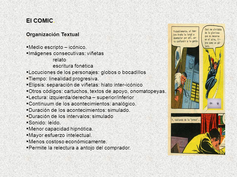 El COMIC. Organización Textual Medio escripto – icónico.